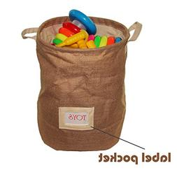 Large Jute Bin for Kids and baby Toy Storage Basket with dra