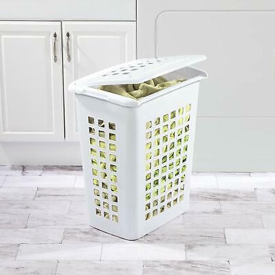 Sterilite Rectangular LiftTop Laundry Hamper, White,