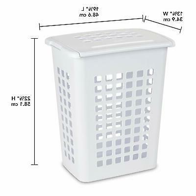 Sterilite 12238004 Rectangular Laundry White, 4-Pack