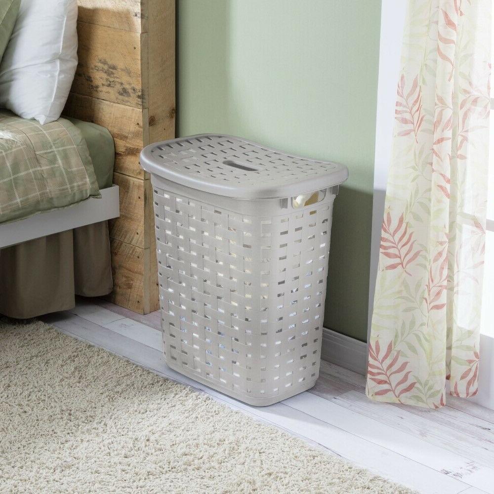 Sterilite Hamper With Lid Weave Pattern, Cement