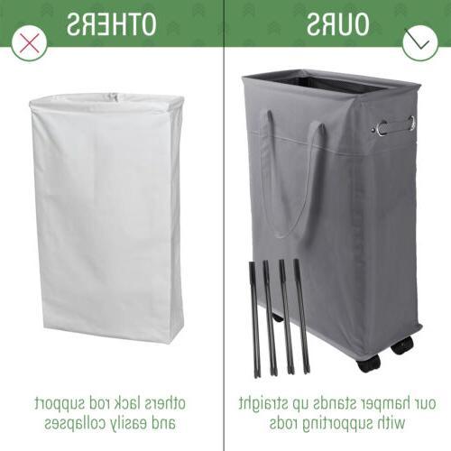 """22"""" Rolling Hamper Basket Waterproof Sorter Bin"""