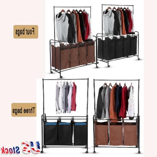 3-4 Detachable Removable Bag Mobile Laundry Sorter Cart Hamp