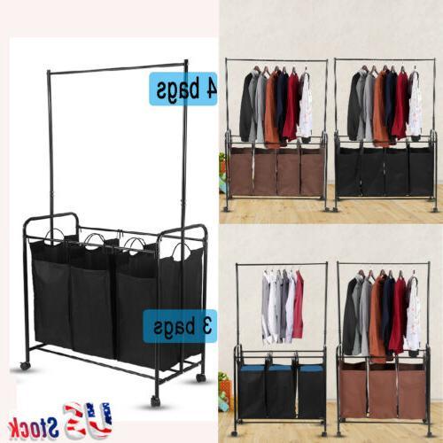 Laundry Hamper Clothes Storage Rolling Basket Bin Organizer