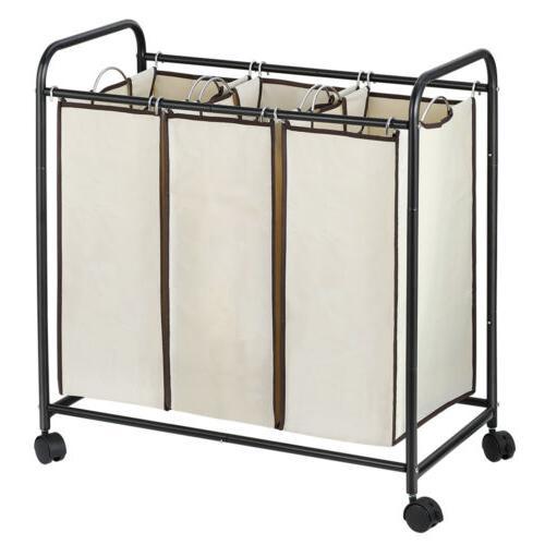 3-Bag Laundry Sorter Laundry Hamper Sorter Duty Rolling Wheels White