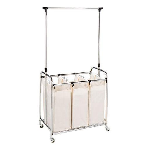 3 bag laundry sorter with hanging bar