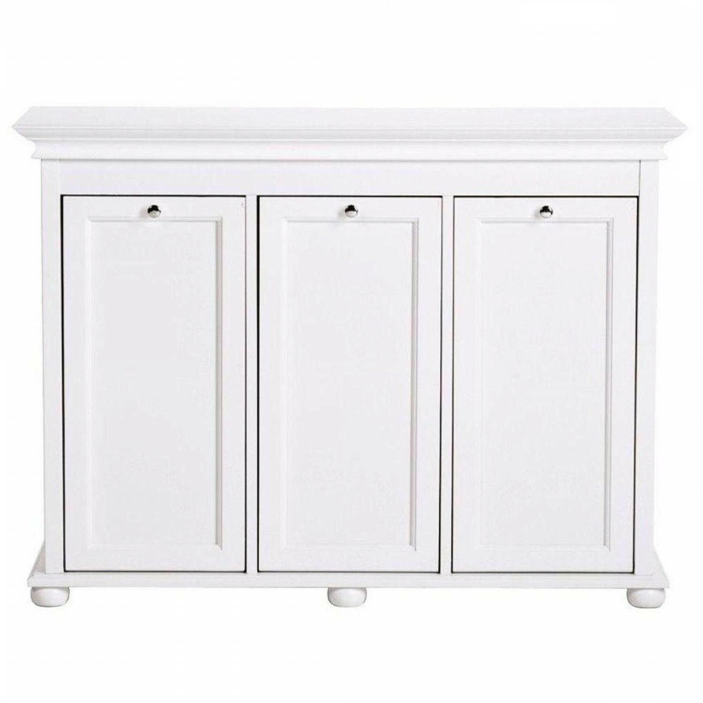 3-Compartment Tilt-Out Laundry Hamper White Cabinet Liners R