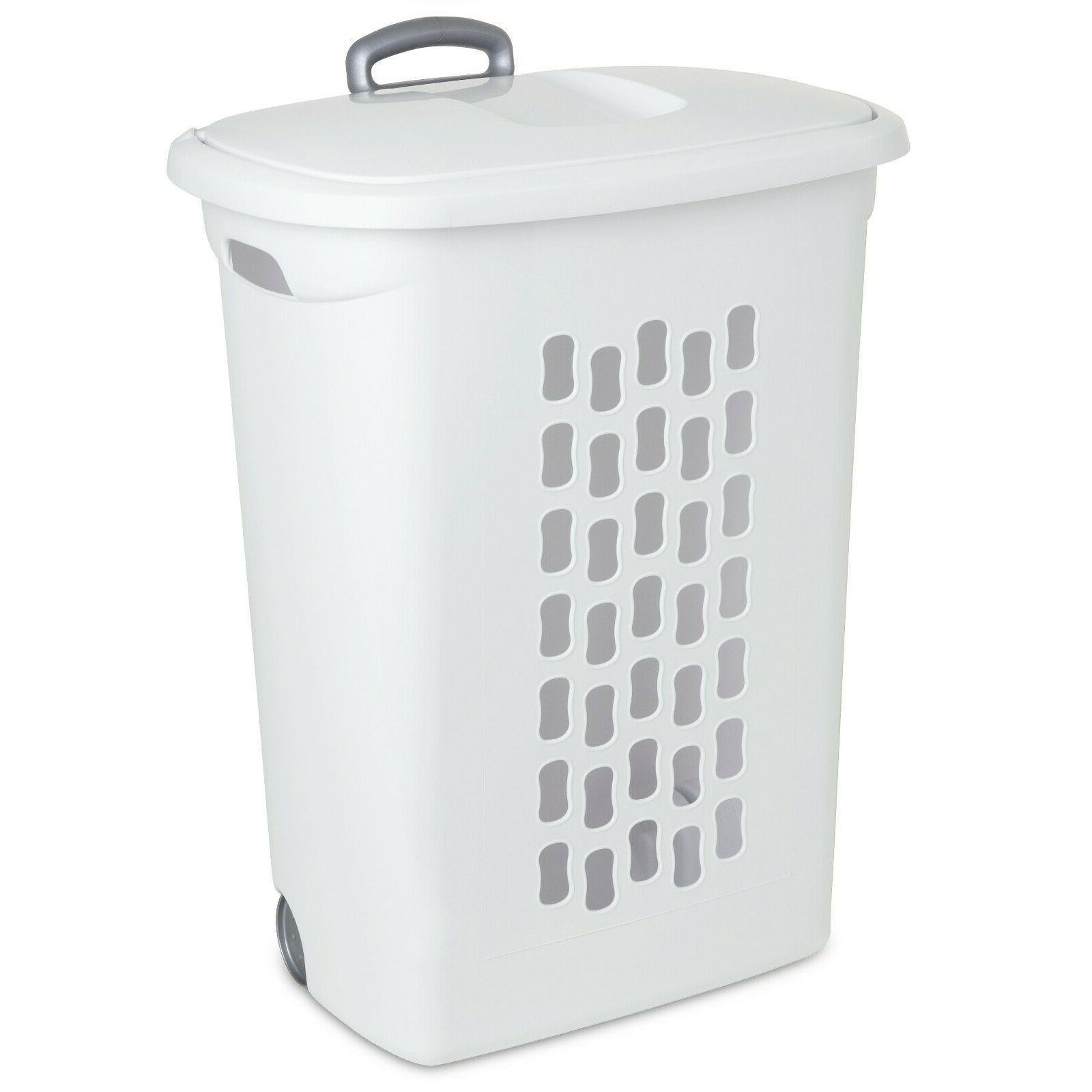 3 PACK Laundry Hamper Basket Clothes Storage Lid White