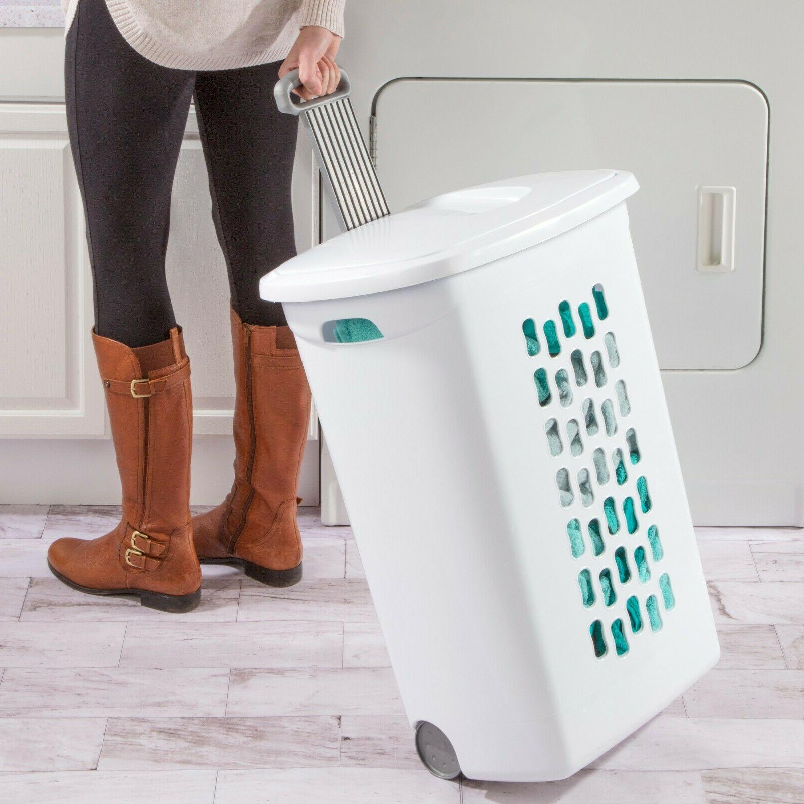 3 Wheeled Laundry Hamper Rolling Clothes Lid White