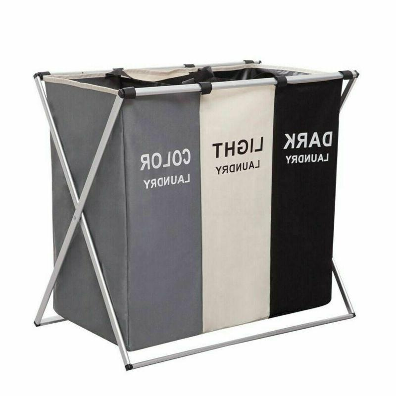 3 Sections Foldable Basket Hamper Laundry Wash Clothes Dirty