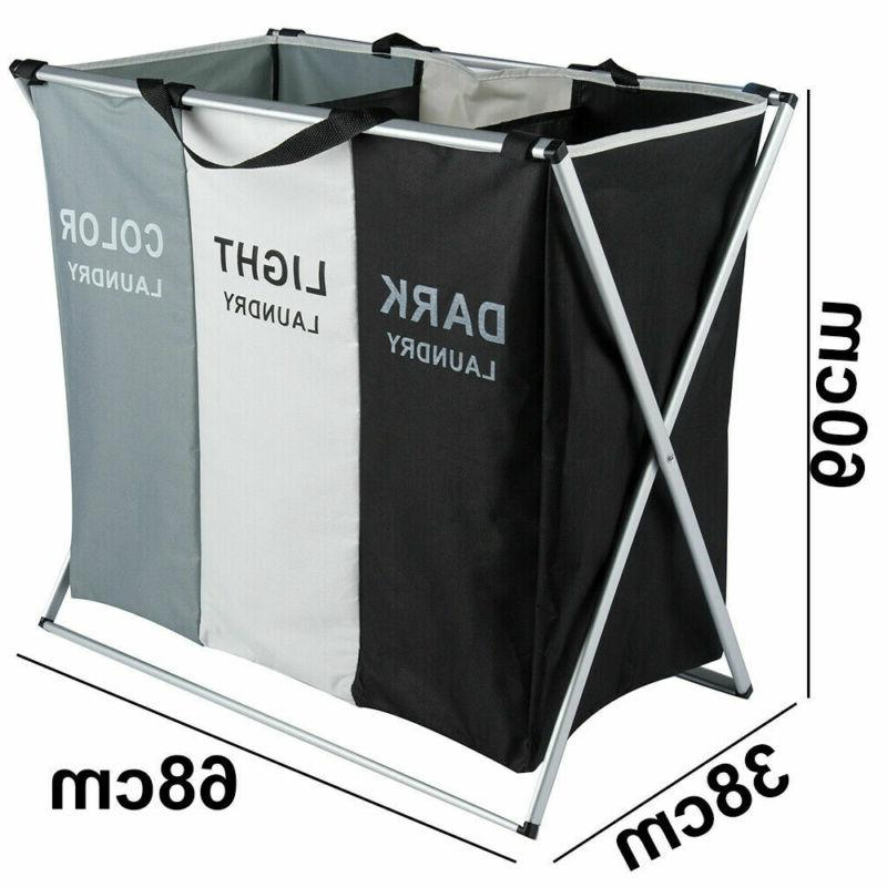 2Sets Sections Laundry Hamper Clothes Storage Bag Bin