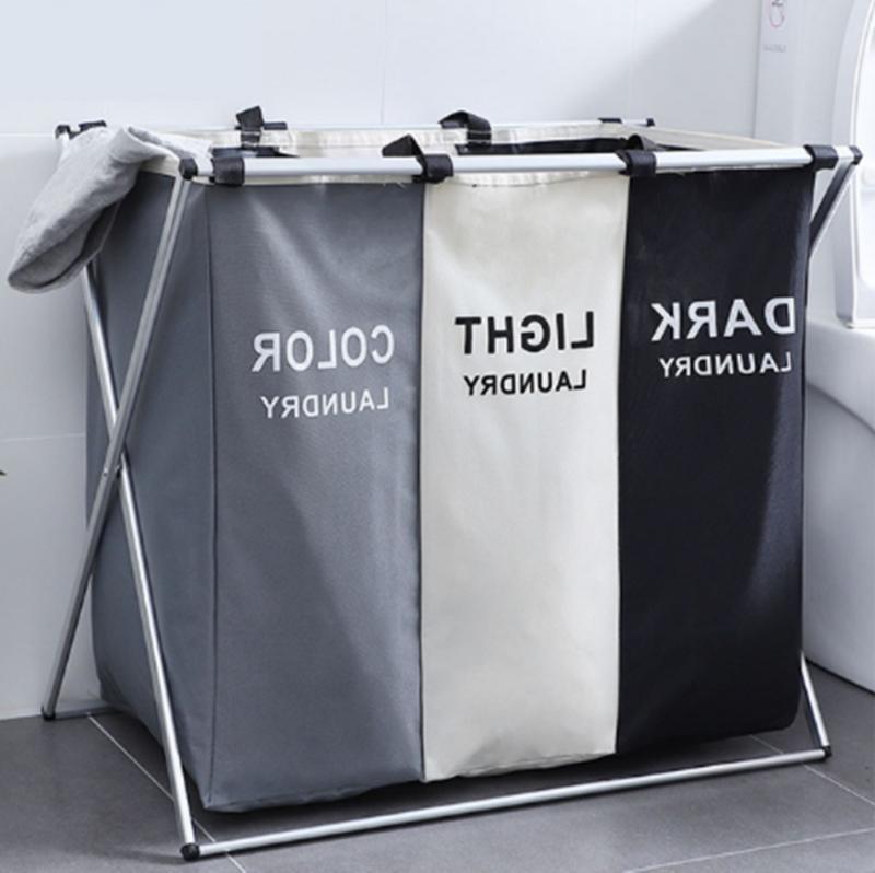 3 section foldable laundry basket organizer large