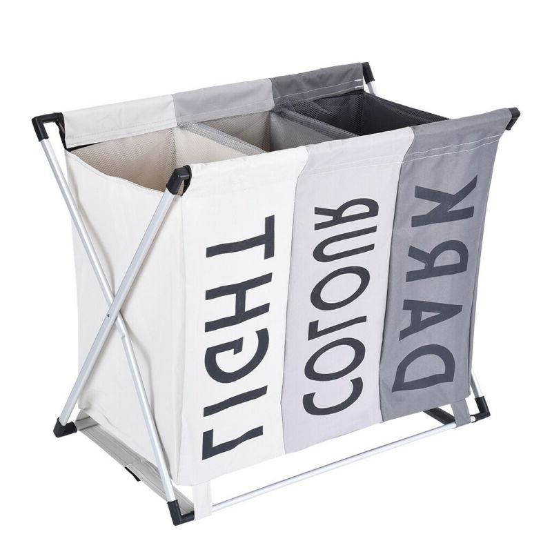 3 Section Laundry Sorter Hamper Clothes Storage Basket Organ