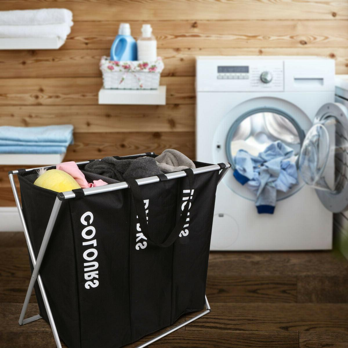 3 Sections Hamper for Laundry Clothes Dirty Bin