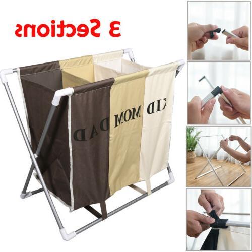 3 sections basket hamper laundry foldable wash