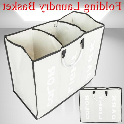 Laundry Basket 3 Sections Large Dirty Clothes Hamper Sorter