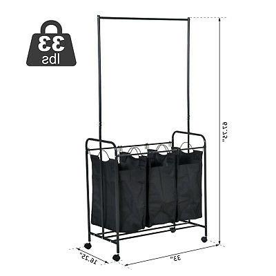 """33""""L 3-bag Hamper Cart Clothes Organizer Hanging"""