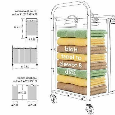 4 Bag Cart, Laundry Sorter with Duty Rolling Wheels