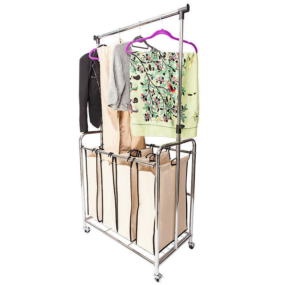 4-bags Laundry Sorter Wheels