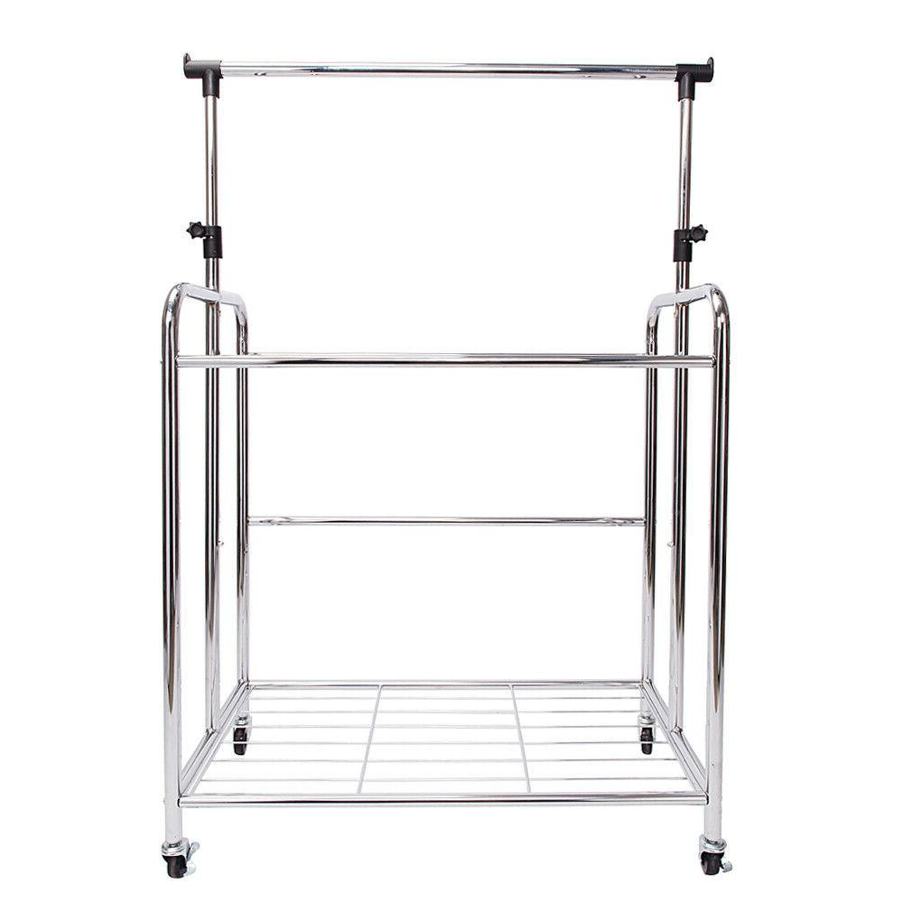 4-bags Electroplate Laundry Hamper Sorter Wheels Hanging Laundry Carts