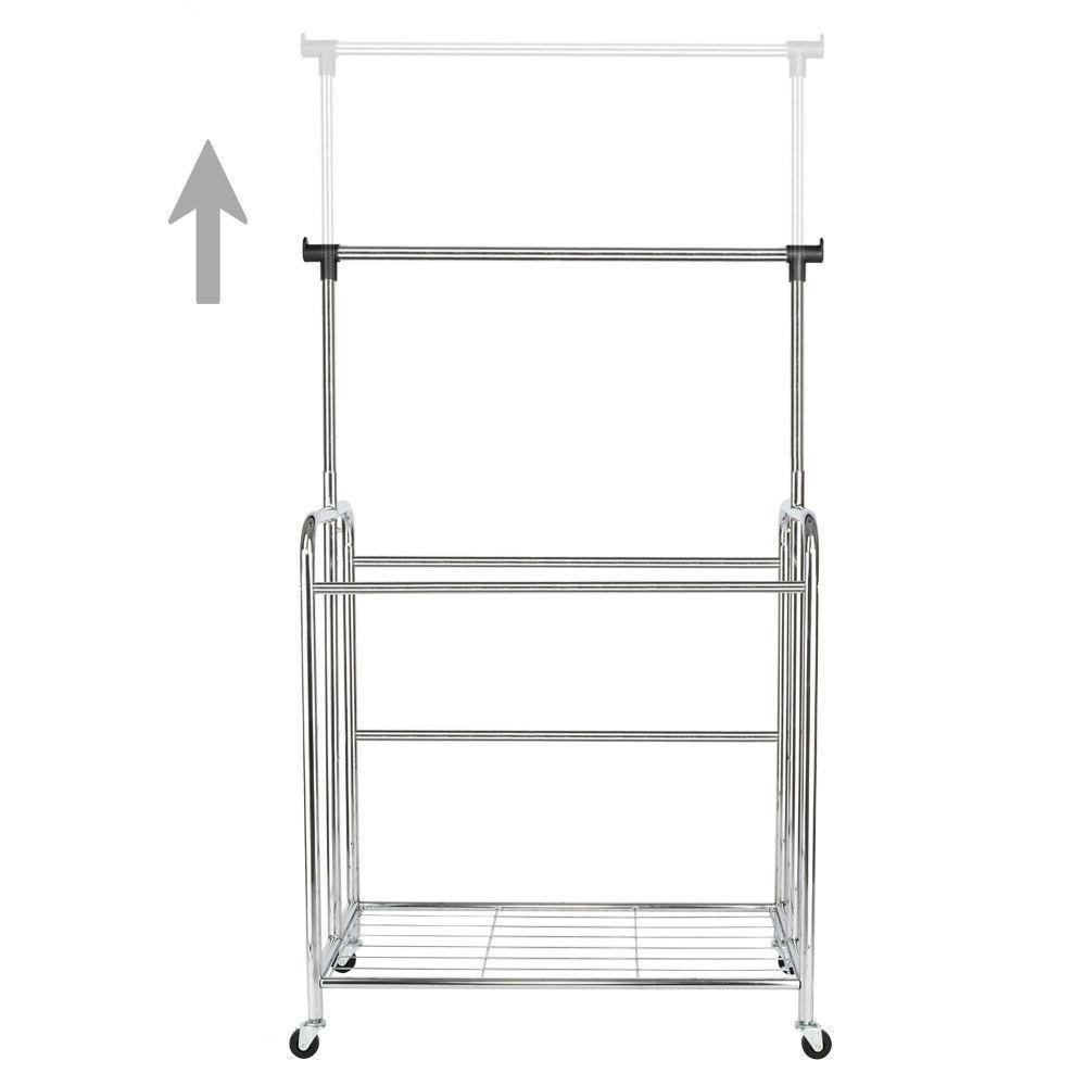 4-bags Electroplate Laundry Hamper Sorter Wheels Hanging Bar Laundry