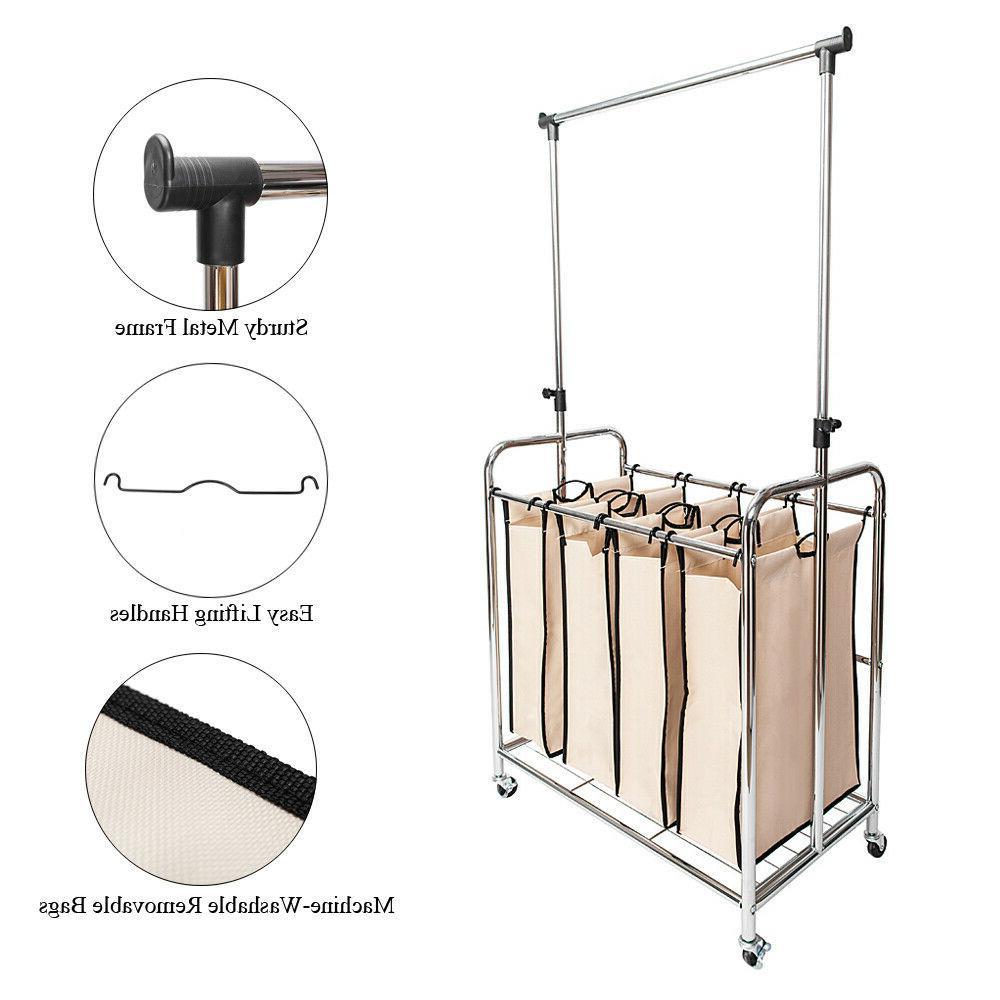 4-bags Laundry Sorter Laundry Carts