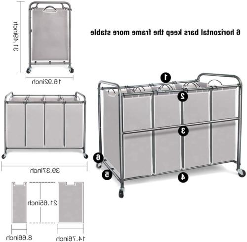 4 Laundry Sorter, 4 Cart with Rolling