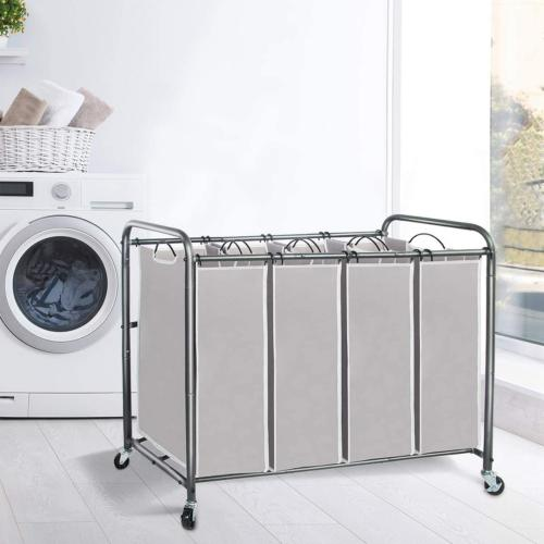 4 Section 4 Laundry Hamper Cart Duty Rolling