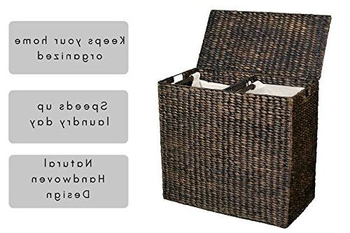 BirdRock Laundry Hamper Divided | | of Fibers Removable Cotton | Wicker Laundry with Lid