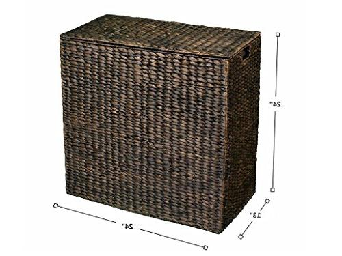 BirdRock Home Hyacinth Laundry | | of Hyacinth Fibers | Includes Removable Liners | Wicker Basket with Lid