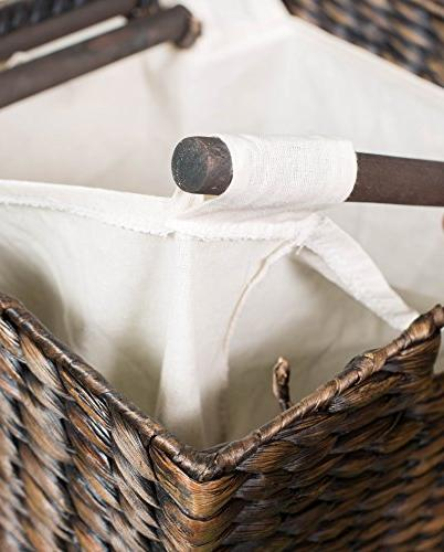 BirdRock Laundry Divided | Eco-Friendly Made of Woven Hyacinth Fibers Two Removable | Laundry with Lid