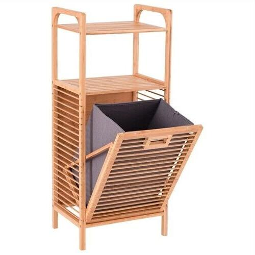 Bamboo 2 in 1 Laundry Hamper Side Table 2 Shelves Clothes Ba