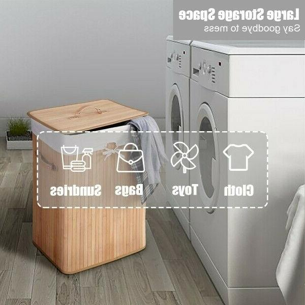 Bamboo Baskets Double Hamper Clothes