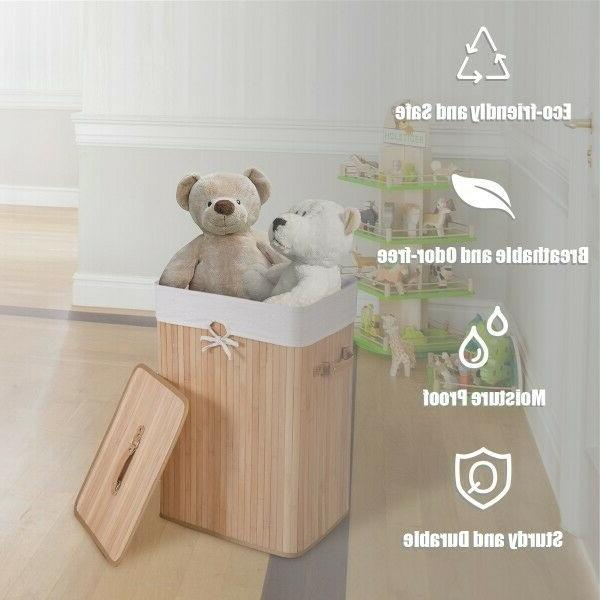 Bamboo Laundry Baskets W/Lid Double Hamper 2 Clothes