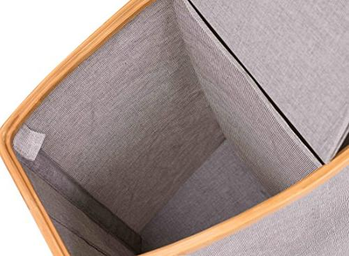 BirdRock Home Divided & Canvas Hamper Double Lid | Section Hamper | Cut Out Grey Design | Great for