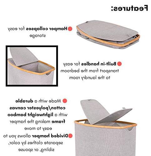 BirdRock Home & Hamper Section Foldable | Grey Narrow Design Great Adults