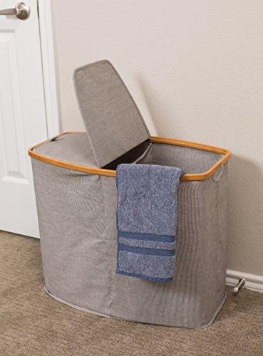 BirdRock & Canvas Hamper | Double Basket Lid | Section Cut Out Grey Great Kids