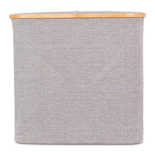 BirdRock Bamboo Canvas Hamper Single Laundry Basket Lid | Hamper | Cut | | for Kids Adults