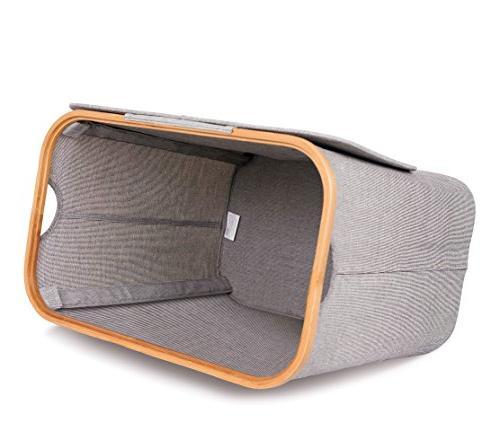 BirdRock Home Laundry Lid | Modern Foldable Hamper | Cut Handles | Grey Adults