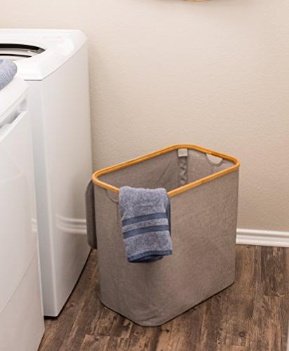 BirdRock Bamboo Canvas Laundry Basket | Foldable | Cut Out Handles | Grey | Great Adults
