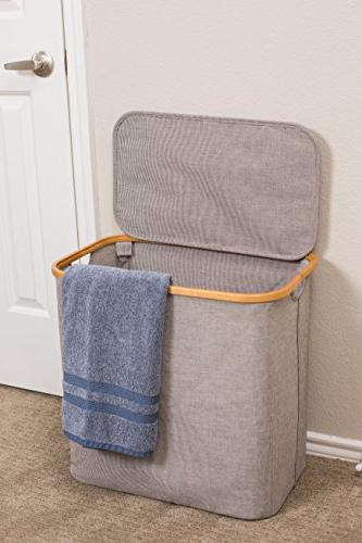 BirdRock Home Bamboo Canvas | Single Laundry Basket with | Modern | Out | Narrow | Adults