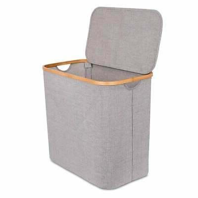 bamboo canvas hamper single laundry