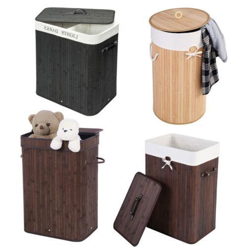 bamboo folding laundry hamper basket with lid