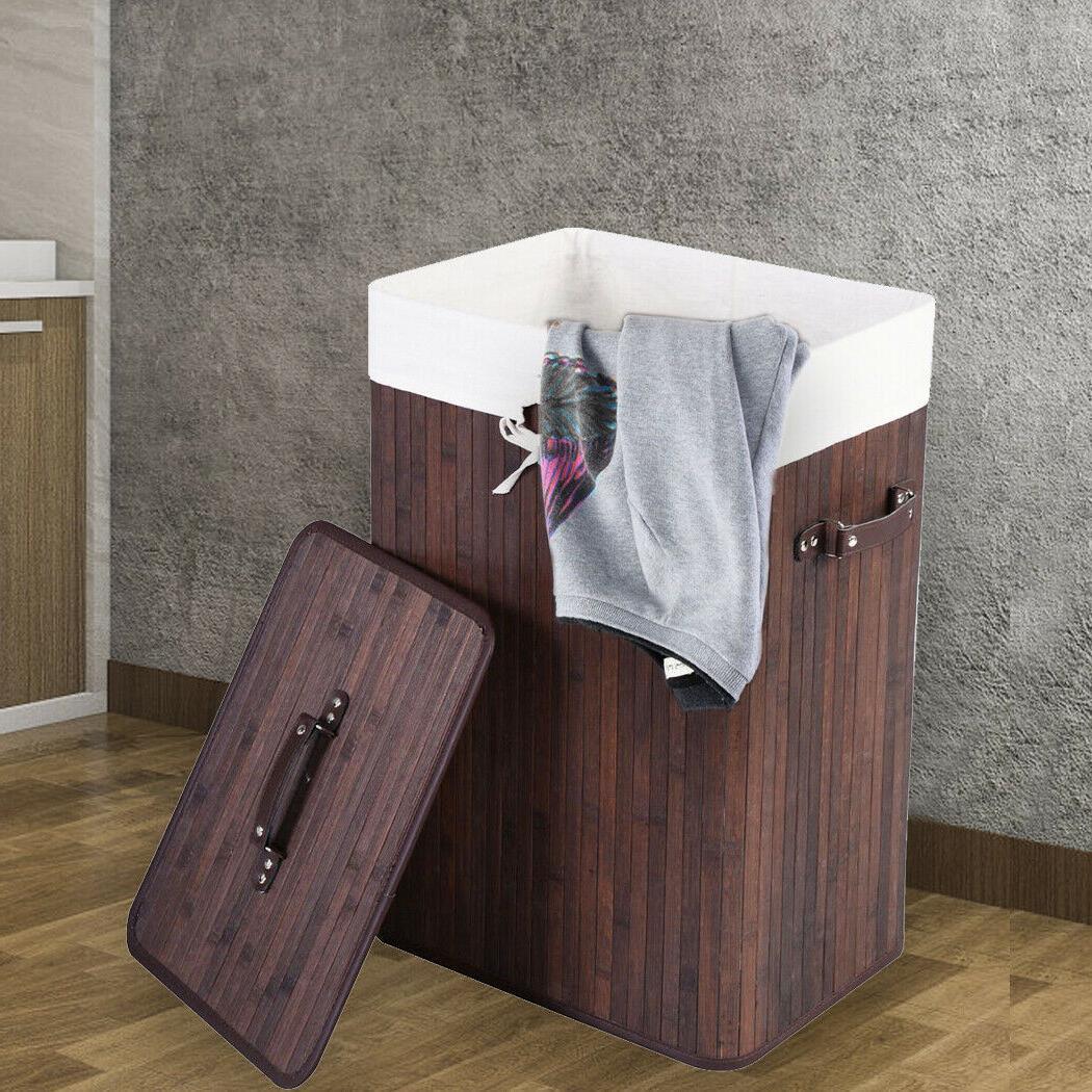 bamboo laundry basket clothes hamper storage bin
