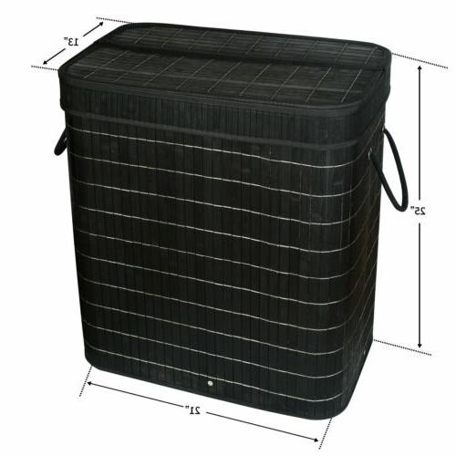 Bamboo Laundry Double Clothes Basket