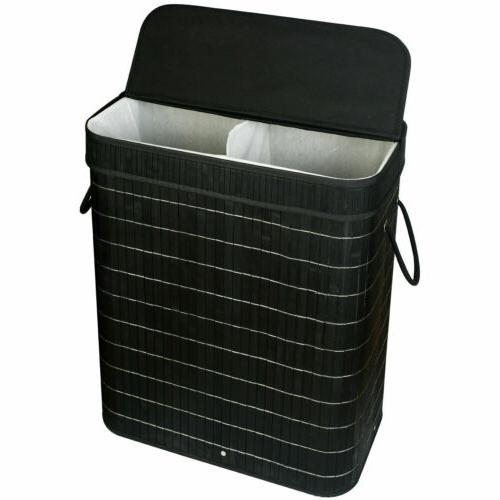 bamboo laundry baskets w lid double hamper
