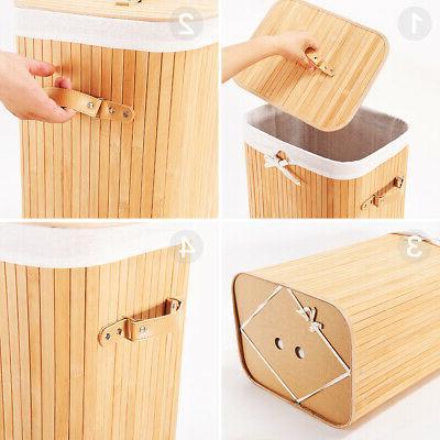 Foldable Bamboo Laundry Bin Basket Hamper Linen Cloth Washin