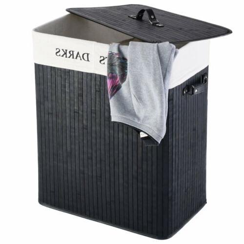 Bamboo Laundry Hamper Wicker Holder Clothes Washing Storage