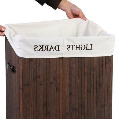 Bamboo Bag Wicker Organizer Clothes Washing Storage Brown