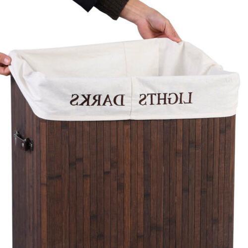 Bamboo Laundry Wicker Organizer Clothes Storage Basket