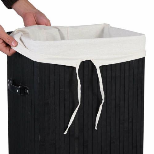Rectangle Bamboo Washing Cloth Storage Bin Organizer